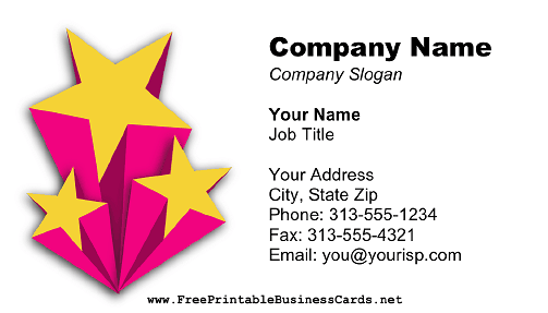 Shooting Stars White business card
