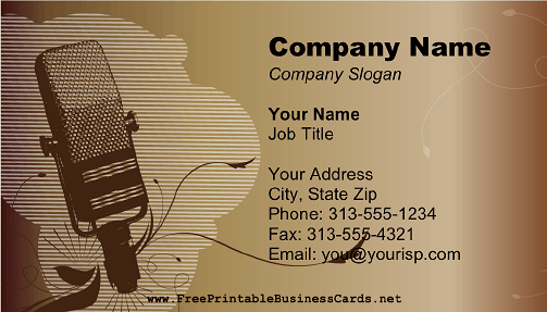 Microphone Brown business card