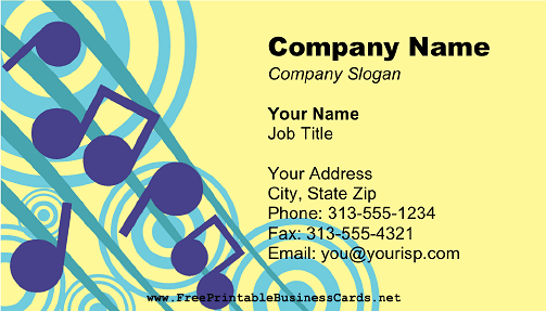 Large Music Notes business card
