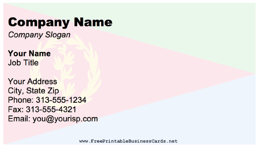 Eritrea Business Card business card