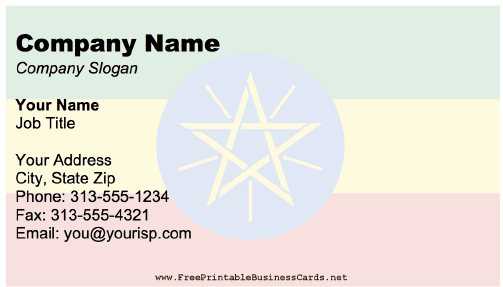 Ethiopia Business Card business card