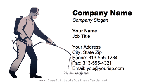 Exterminator business card