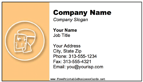Face Shield Business Card business card