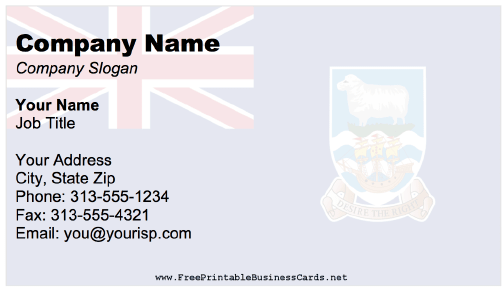 Falkland Islands Business Card business card