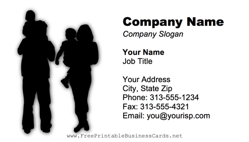 Family Black And White business card