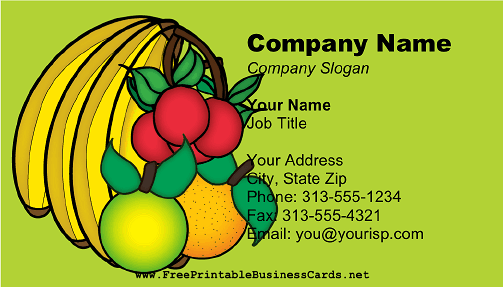 Bunch of Fruits business card