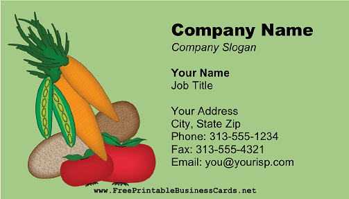 Veggies business card