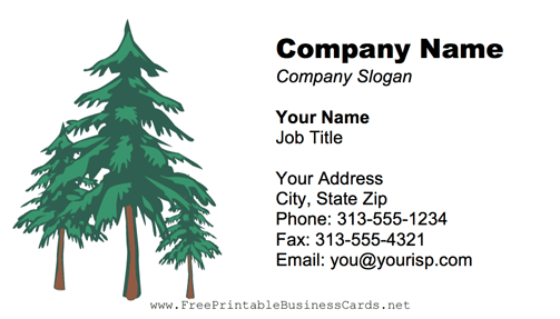 Fir Trees business card