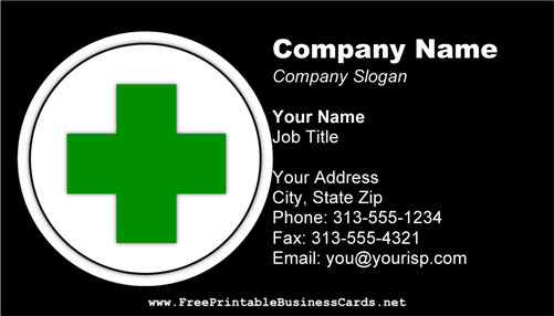 First Aid Cross 2 business card