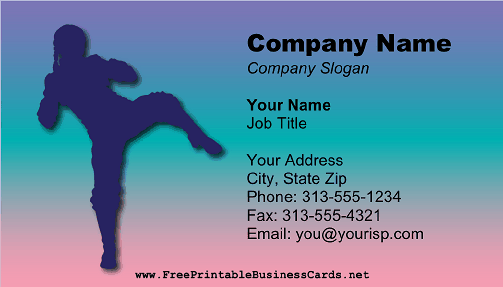 Kickboxer business card