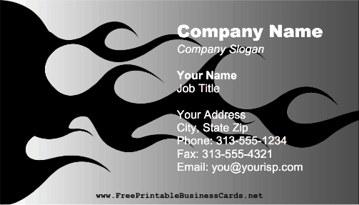 Black Flames business card