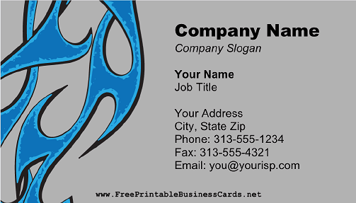 Blue Flames business card