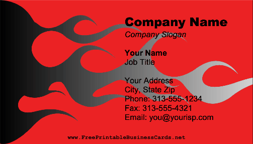 Flames On Red business card