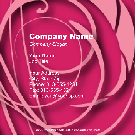 Pink Floral Square business card