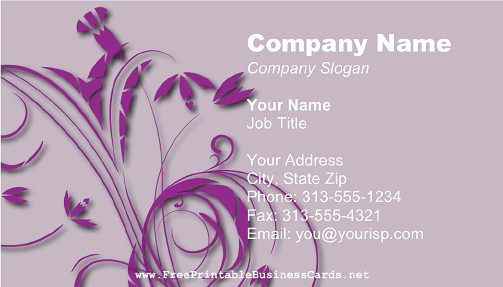 Purple Flowers business card