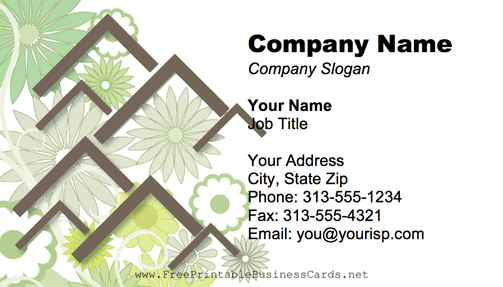 Flower Background Green business card