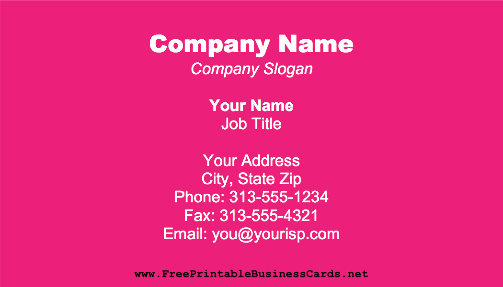Fuchsia business card