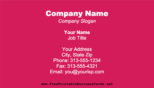 Dark Fuchsia business card