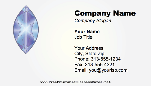 Marquise Cut Gem business card