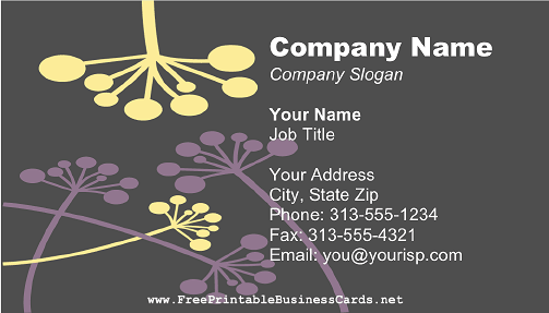 Yellow and Purple Flowers business card