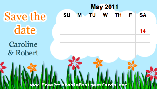 Grass and Flowers Save the Date Card with calendar business card