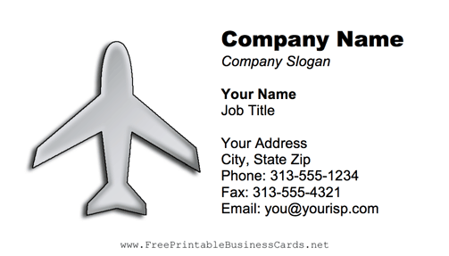 Gray Airplane business card