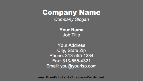 Dark Gray business card