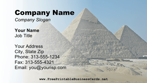 Great Pyramid Business Card business card
