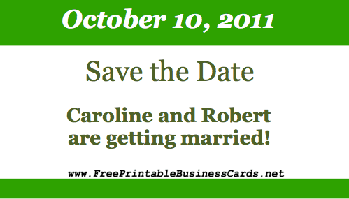Green Border Save the Date Card business card