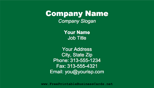 Dark Green business card