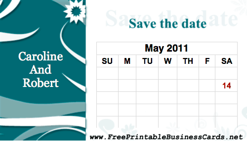 Flower Save the Date Card with calendar business card