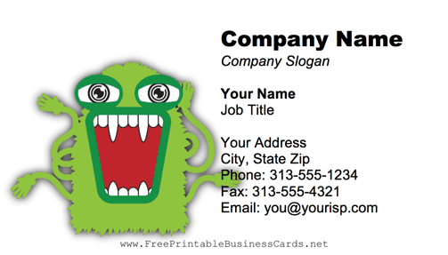 Green Monster business card