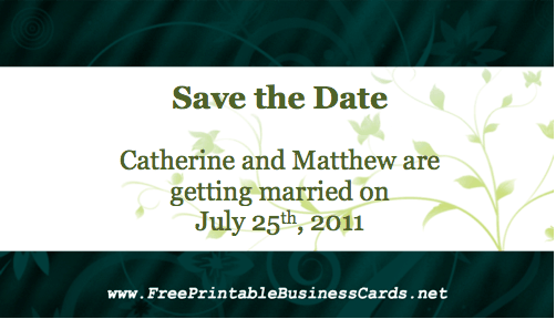 Green Save the Date Card business card