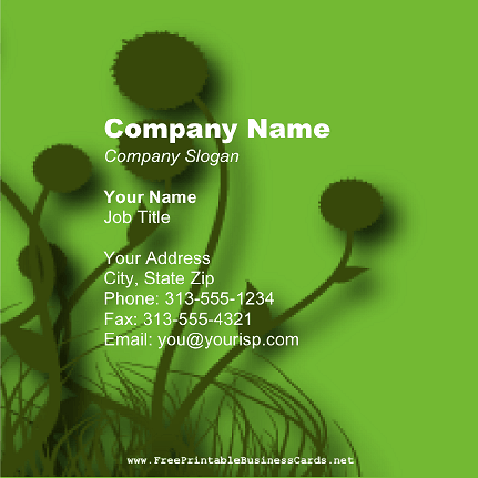 Green Dandelion Square business card