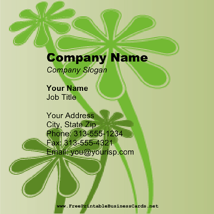 Green Floral Square business card