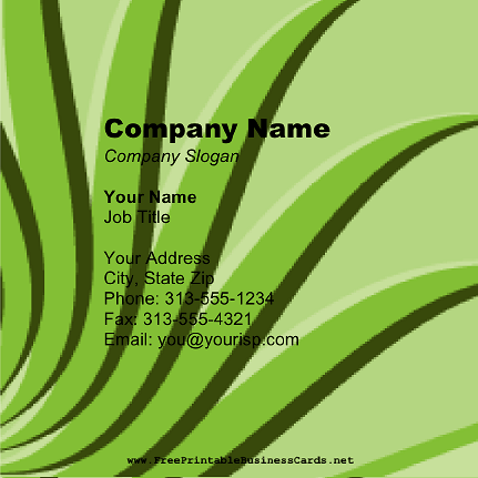 Green Plant Square business card