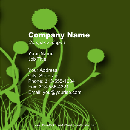 Dark Green Dandelion Square business card