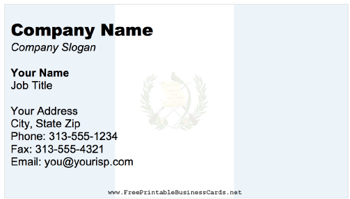 Guatemala business card