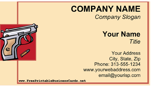 Gun Shop business card