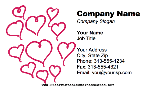 Red Hearts business card