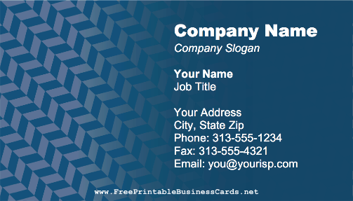 Blue Herringbone business card