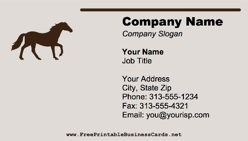Horse Galloping business card