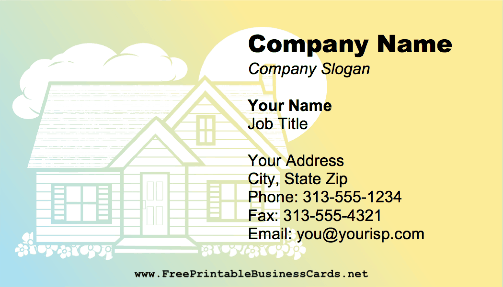Colorful House business card