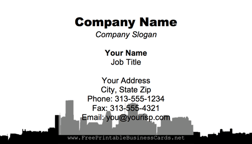 Houston Skyline business card