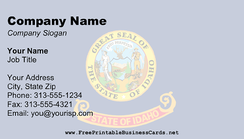 Flag of Idaho business card