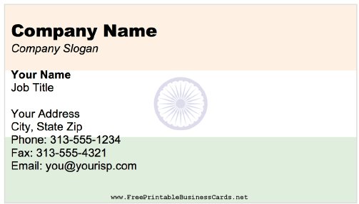 India business card