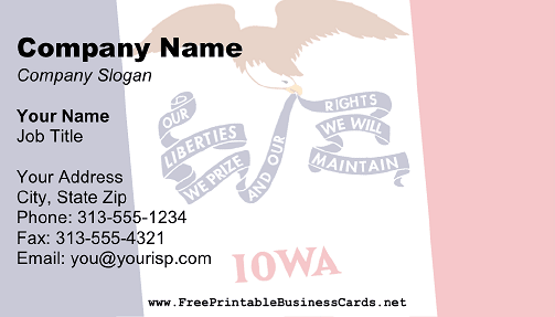 Flag of Iowa business card