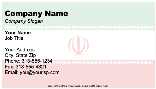 Iran business card