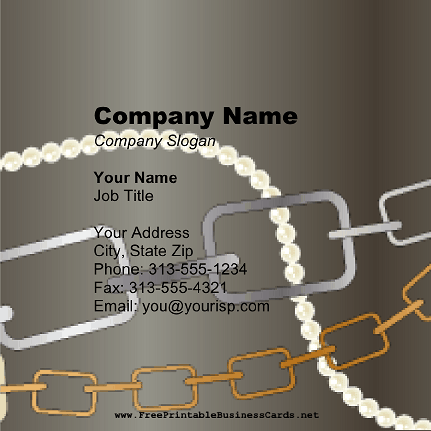 Chain Links Square business card