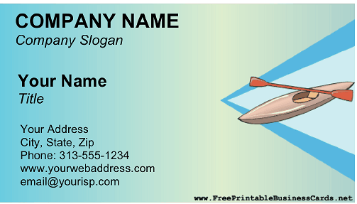 Kayaking business card